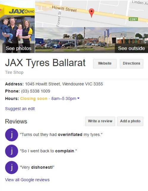 Jax Tyres Ballarat - Search Results feature box